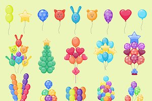 Color glossy party balloons vector