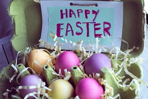 Happy Easter with colorful eggs