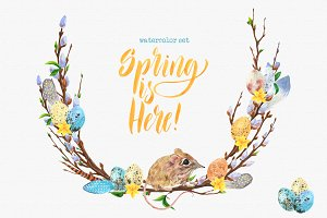 Spring is here! Watercolor set.