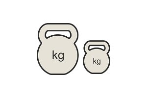 Kettlebells color icon