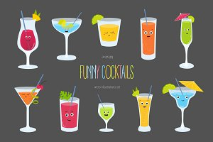 Set of funny cocktails