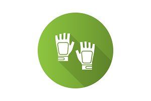 Fingerless gym gloves flat design long shadow glyph icon