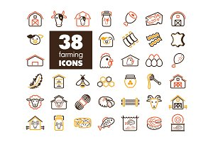 Farm animal icons vector set