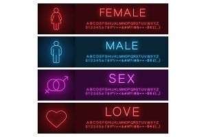 People neon light banner templates set