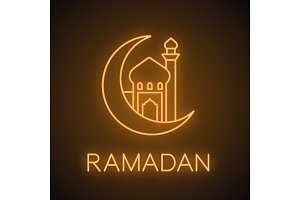 Mosque with ramadan moon neon light icon