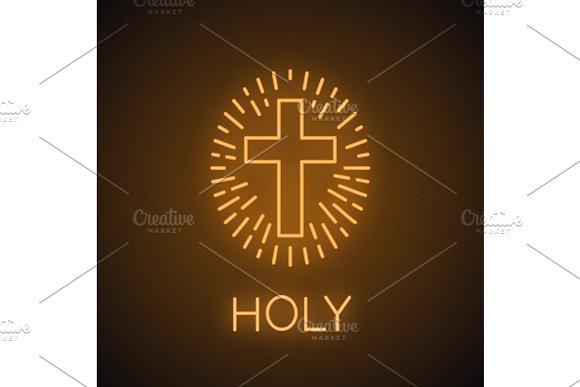 Church Cross Neon Light Icon