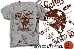Vector racing t-shirt print