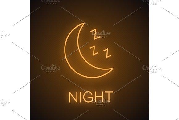 Moon With Zzz Symbol Neon Light Icon
