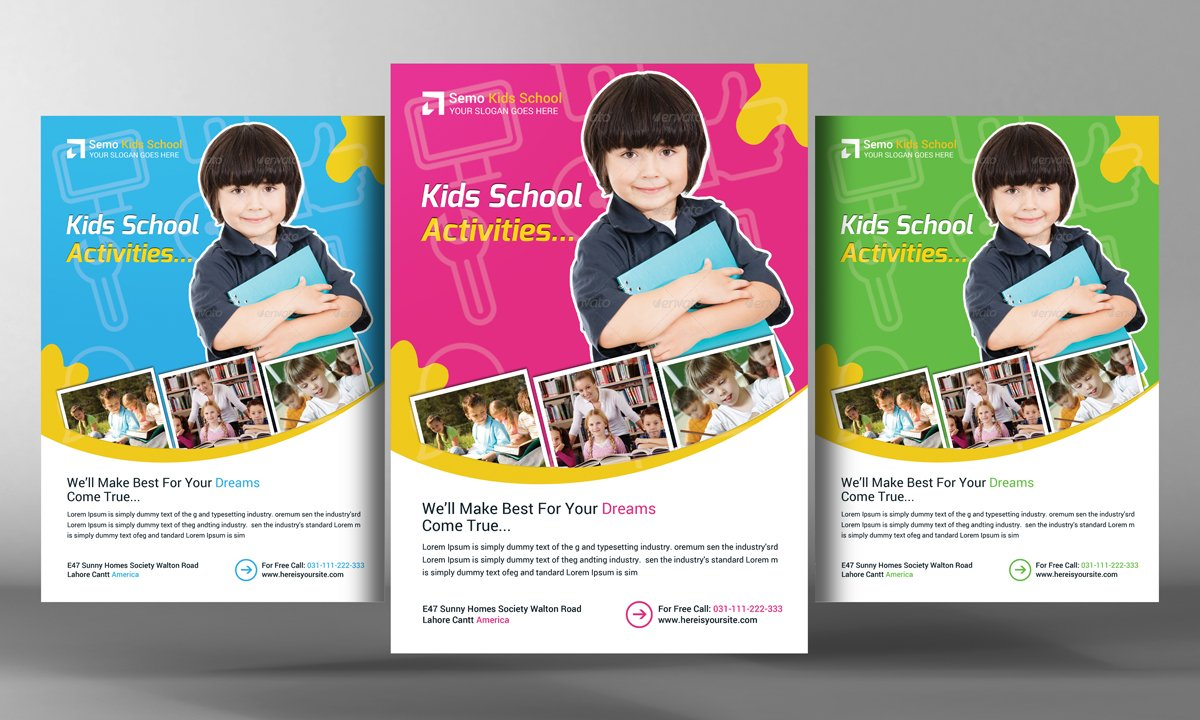 kids school flyer templates flyer templates creative market