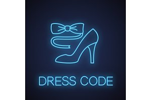 Bow tie and high heel shoe neon light icon