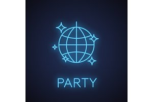 Disco ball neon light icon
