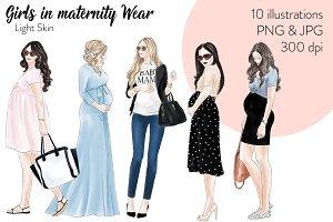 Girls in Maternity Wear - Light Skin