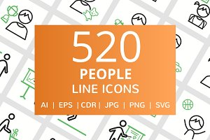 520 People Line Green & Black Icons