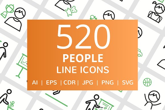520 People Line Green Black Icons