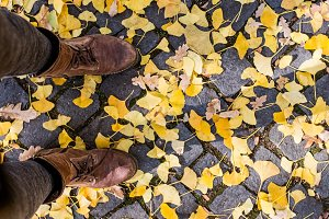 Legs of unrecognizable person in winter boots. Colorful autumn l