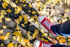 Legs of unrecognizable person in winter boots. Colorful autumn l