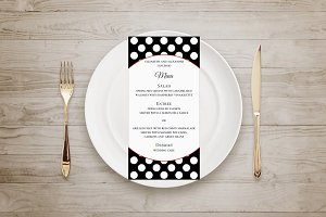 Polka dots menu. Black and white