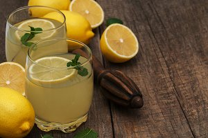 Glasses of lemon juice