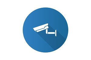 Surveillance camera flat design long shadow glyph icon