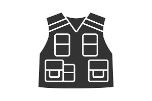Police tactical vest glyph icon