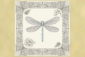 Dragonfly & Ornate Frame
