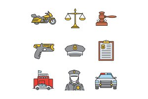 Police color icons set