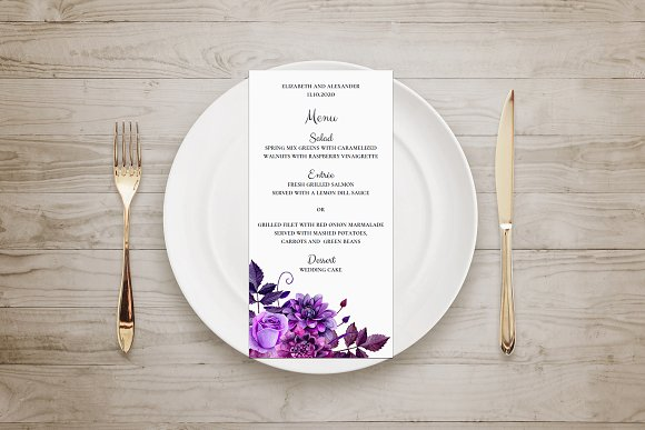 Purple Wedding Flowers Menu Template