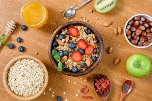 Healthy nutritious breakfast foods