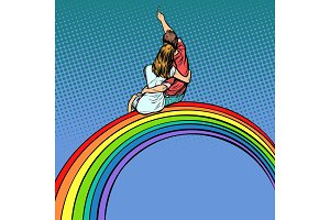 loving couple man and woman sitting on a rainbow, romantic date
