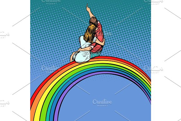 Loving Couple Man And Woman Sitting On A Rainbow Romantic Date