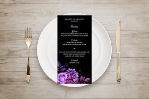 Black and purple wedding Floral menu