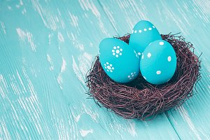 Blue Easter eggs in nest