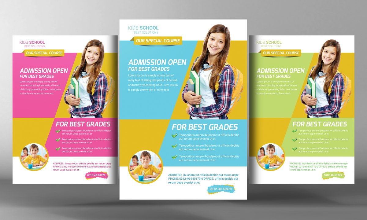 Kids School Flyer Template Flyer Templates Creative Market - School brochure templates