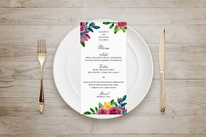 Wedding menu. Modern floral template