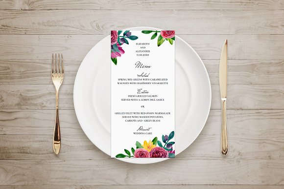 Wedding Menu Modern Floral Template