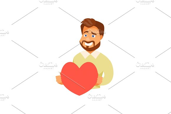 Man With A Heart Vector