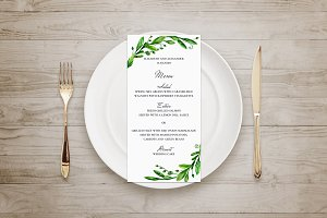 Summer greenery menu. Green wedding