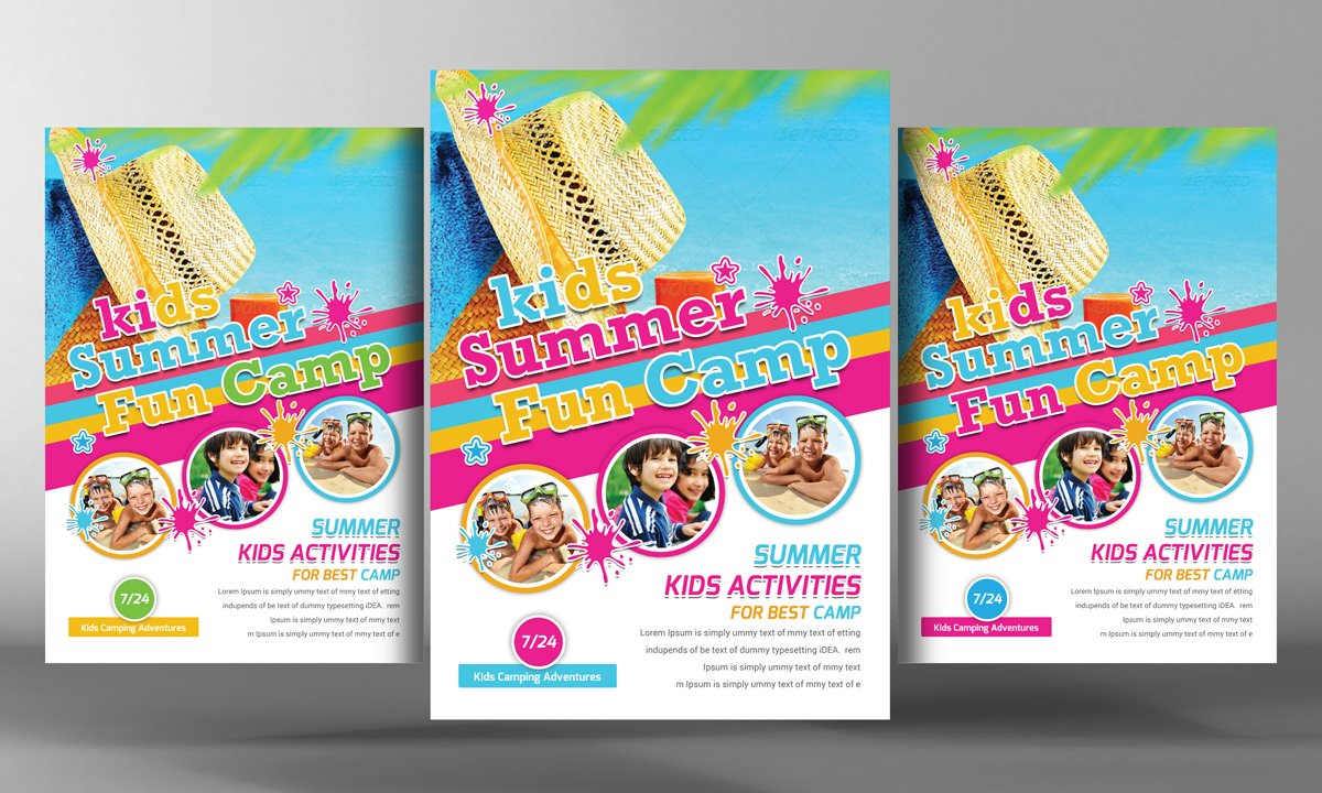 kids summer camp flyer template flyer templates creative market