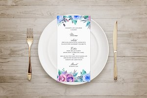 Blue flowers wedding menu template
