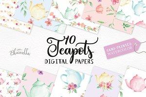 Watercolor Teapot Floral Patterns