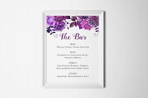 Purple wedding bar menu. Drinks sign