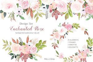 Enchanted Rose Clip Art Design Set