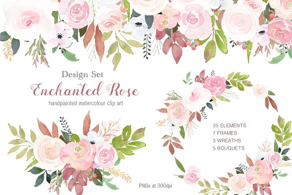 Enchanted Rose Clip Art Design Set