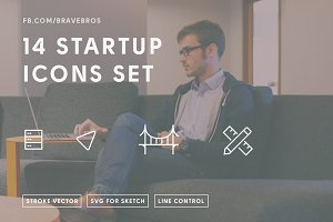 14 Startup Icons, SF, Server, Design