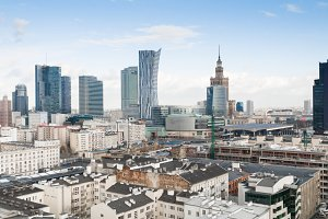 WARSAW, POLAND Aerial drone view