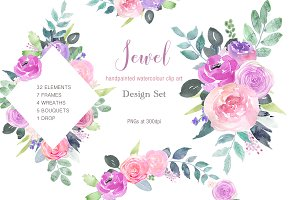 Jewel - Pink Magenta Rose Clip Art