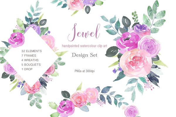 Jewel - Pink Magenta Rose Clip Art