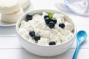 Cottage cheese or tvorog in bowl