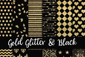 Gold Glitter & Black Digital Paper