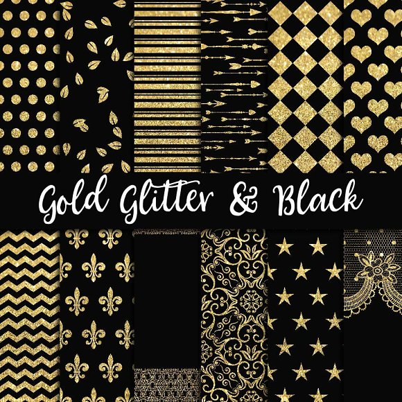 Gold Glitter Black Digital Paper